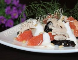 Диетический куриный салат с грейпфрутом