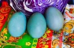 Яйца, покрашенный в голубой цвет
