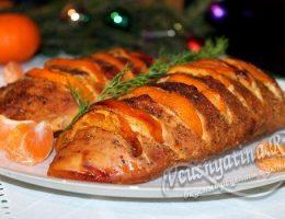 Миниатюра к статье Запеченное филе индейки с мандаринами в духовке