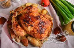 курица с айвой в духовке целиком