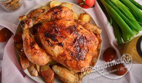 Миниатюра к статье Курица с айвой и картошкой в духовке целиком