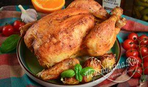 Миниатюра к статье Курица запеченная целиком с яблоками и апельсинами