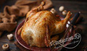 Миниатюра к статье Курица фаршированная гречкой и грибами в духовке