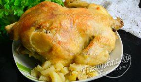 Миниатюра к статье Курица с хрустящей корочкой на картошке в духовке