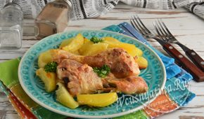 Миниатюра к статье Куриные ножки с картошкой в духовке – пошаговый фото рецепт
