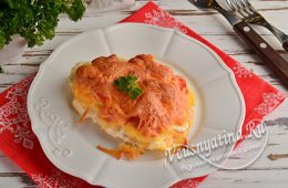 Миниатюра к статье Мясо по-французски из фарша с помидором и сыром в духовке