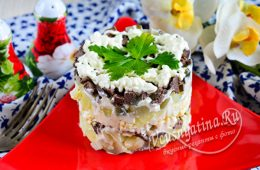 Печеночный салат с картофелем