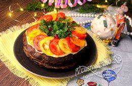 Миниатюра к статье Праздничный торт из нежных печеночных блинчиков