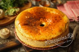 Постный пирог с грибами и картошкой