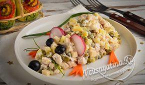 Миниатюра к статье Вкусный салат «Мышка» с курицей и сыром к Новому 2020 году