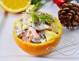 салат с апельсинами, сыром и грибами