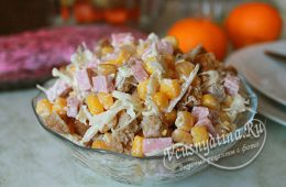 Миниатюра к статье Салат с капустой и колбасой — 8 очень вкусных рецептов