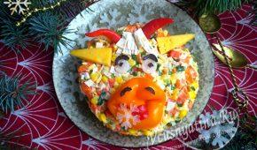 Миниатюра к статье Вкусный салат в виде символа 2021 года к новогоднему столу