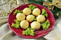 Сырные шарики с крабовыми палочками и чесноком