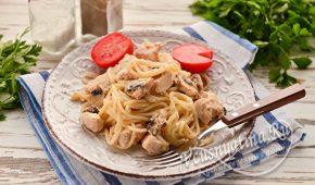 Миниатюра к статье Спагетти с курицей и грибами в сливочном соусе