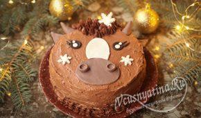 Миниатюра к статье Бисквитный торт Бычок с кремом на Новый год – красивый и вкусный