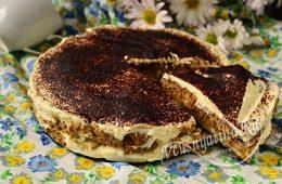 Торт из овсяного печенья без выпечки со сметаной и бананом
